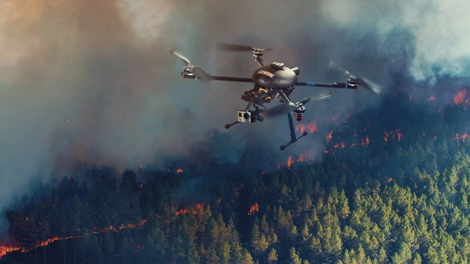 Drones overflies forest fire